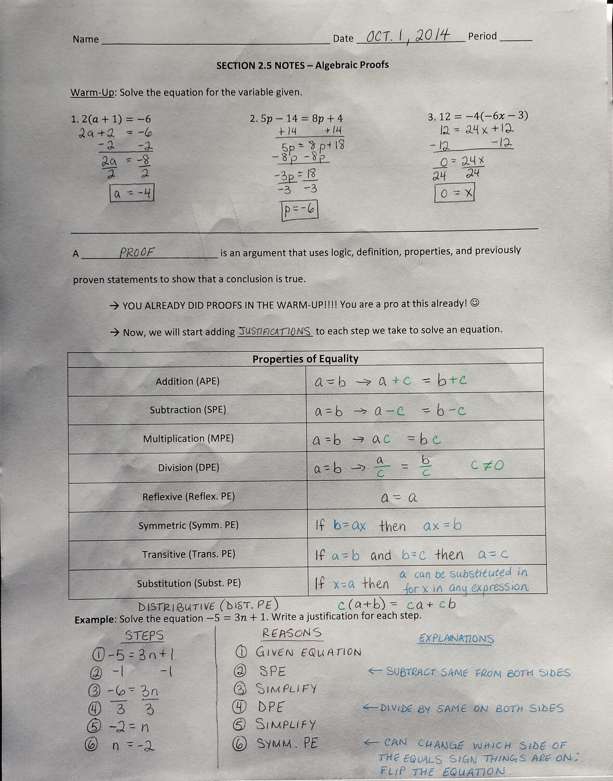 Mrs Garnet Mrs Garnet at PVPHS – Algebraic Proofs Worksheet with Answers