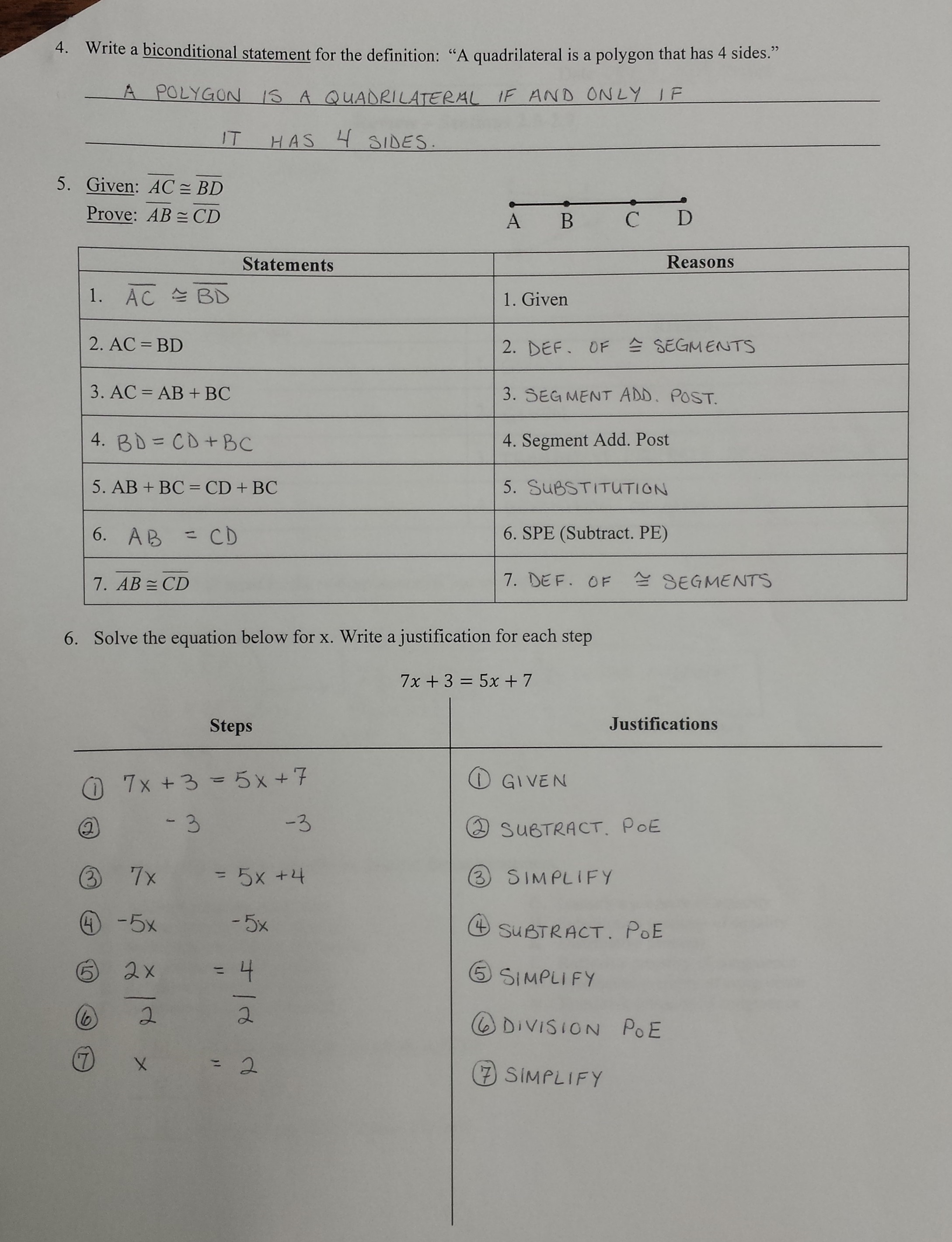 Algebraic proof worksheet answer key