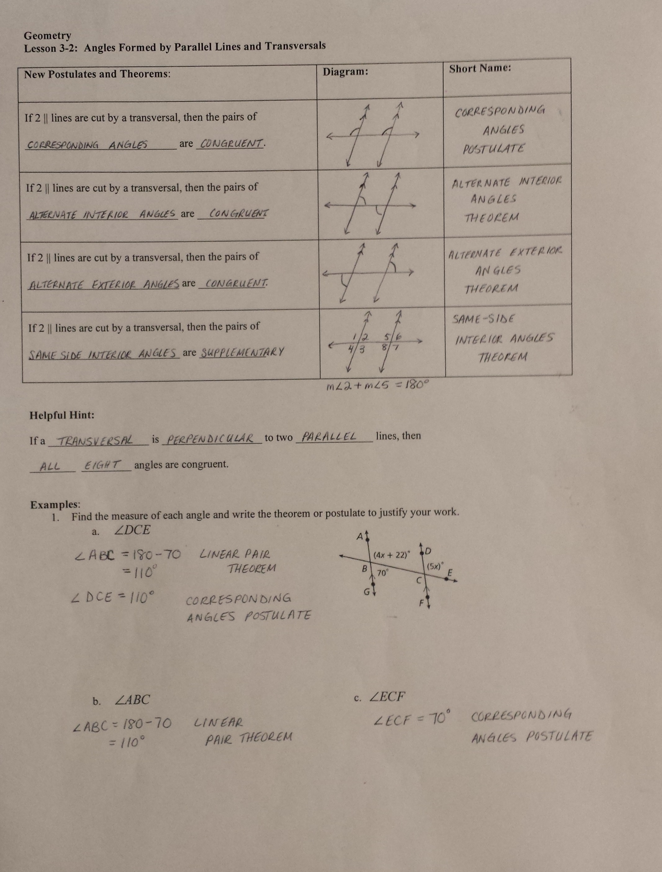 Angles formed by parallel lines and transversals worksheet doc