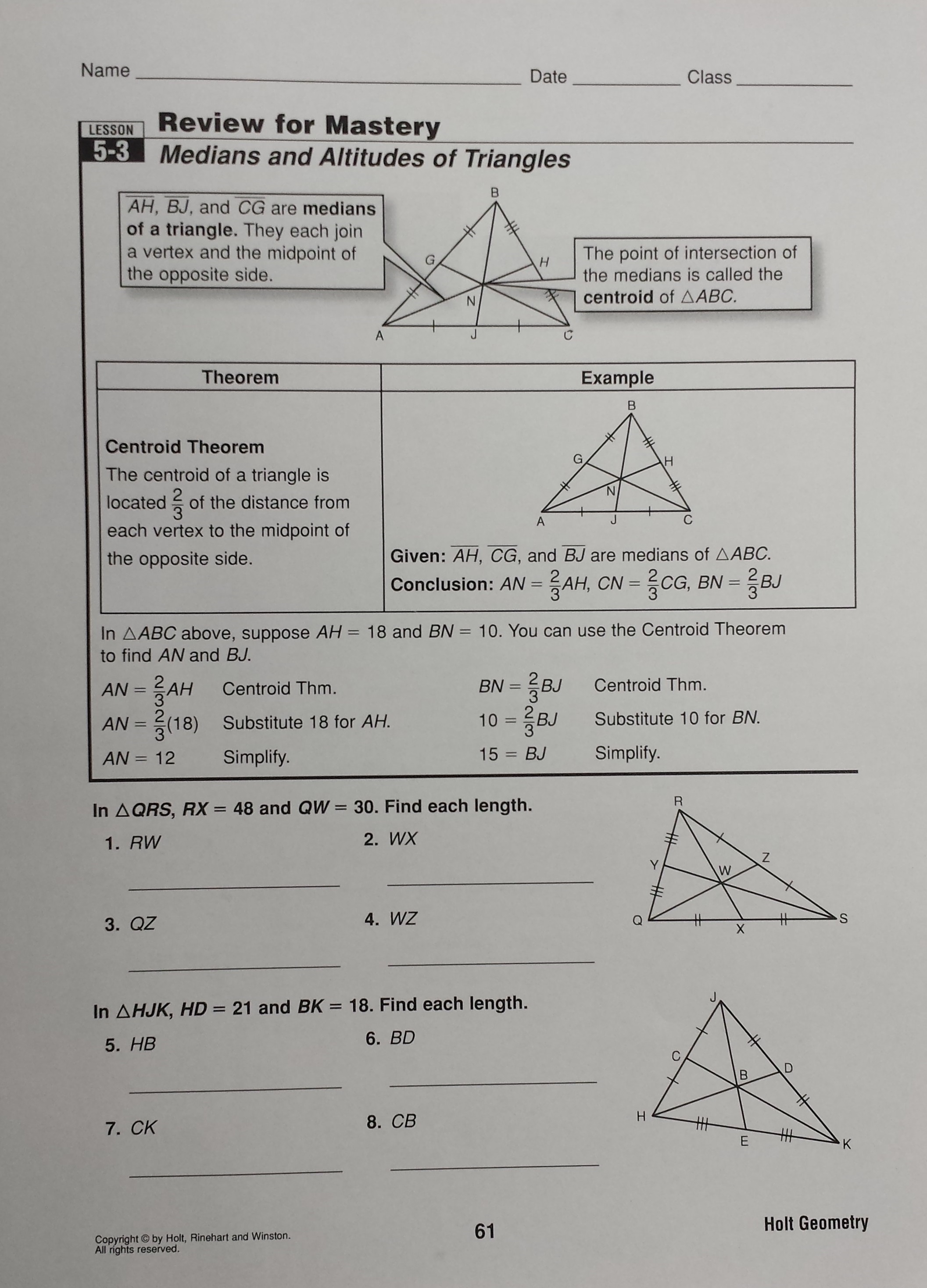 Unit 5 relationships in triangles homework 1 triangle midsegments