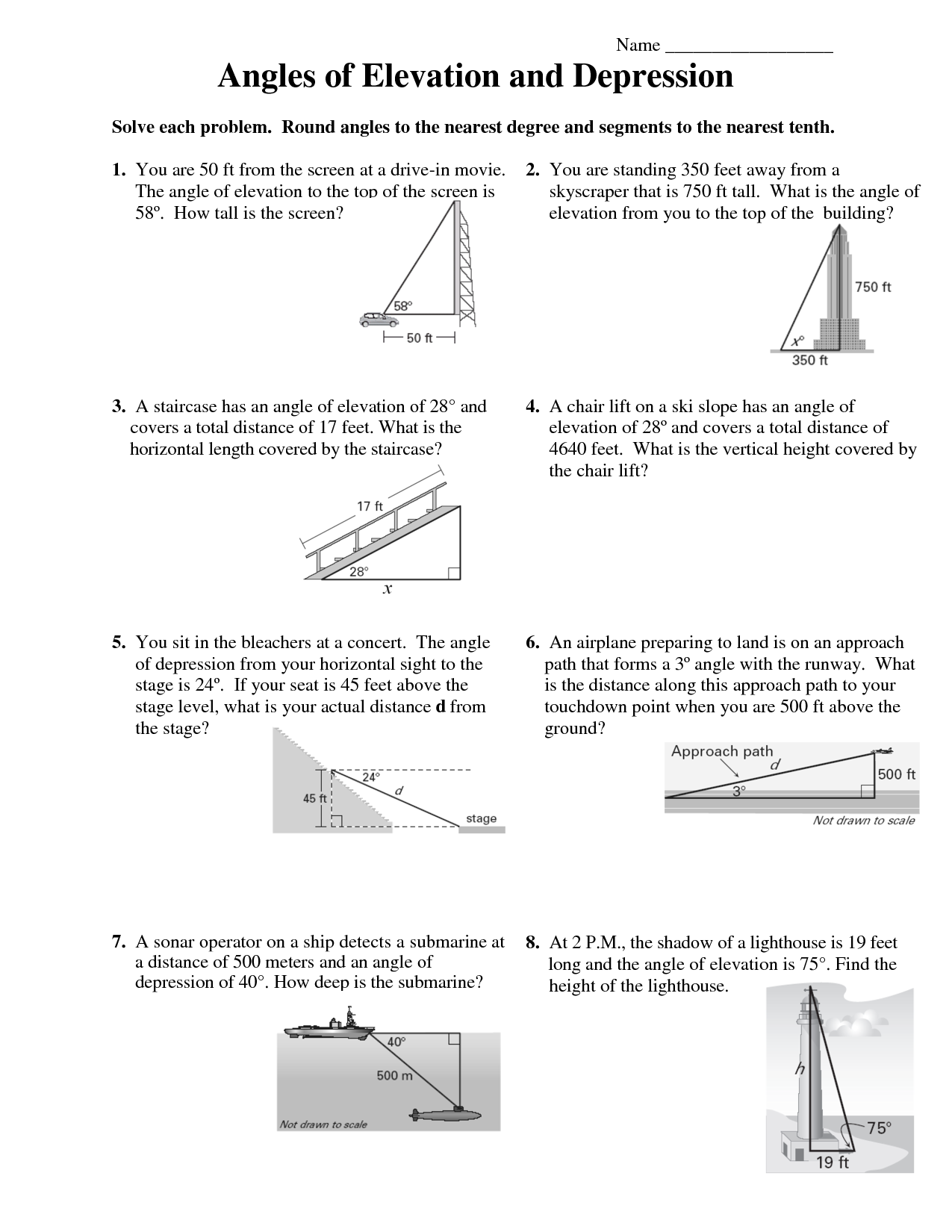 Printables Angle Of Elevation And Depression Worksheet mrs garnet at pvphs hw12 elevationdepression worksheet