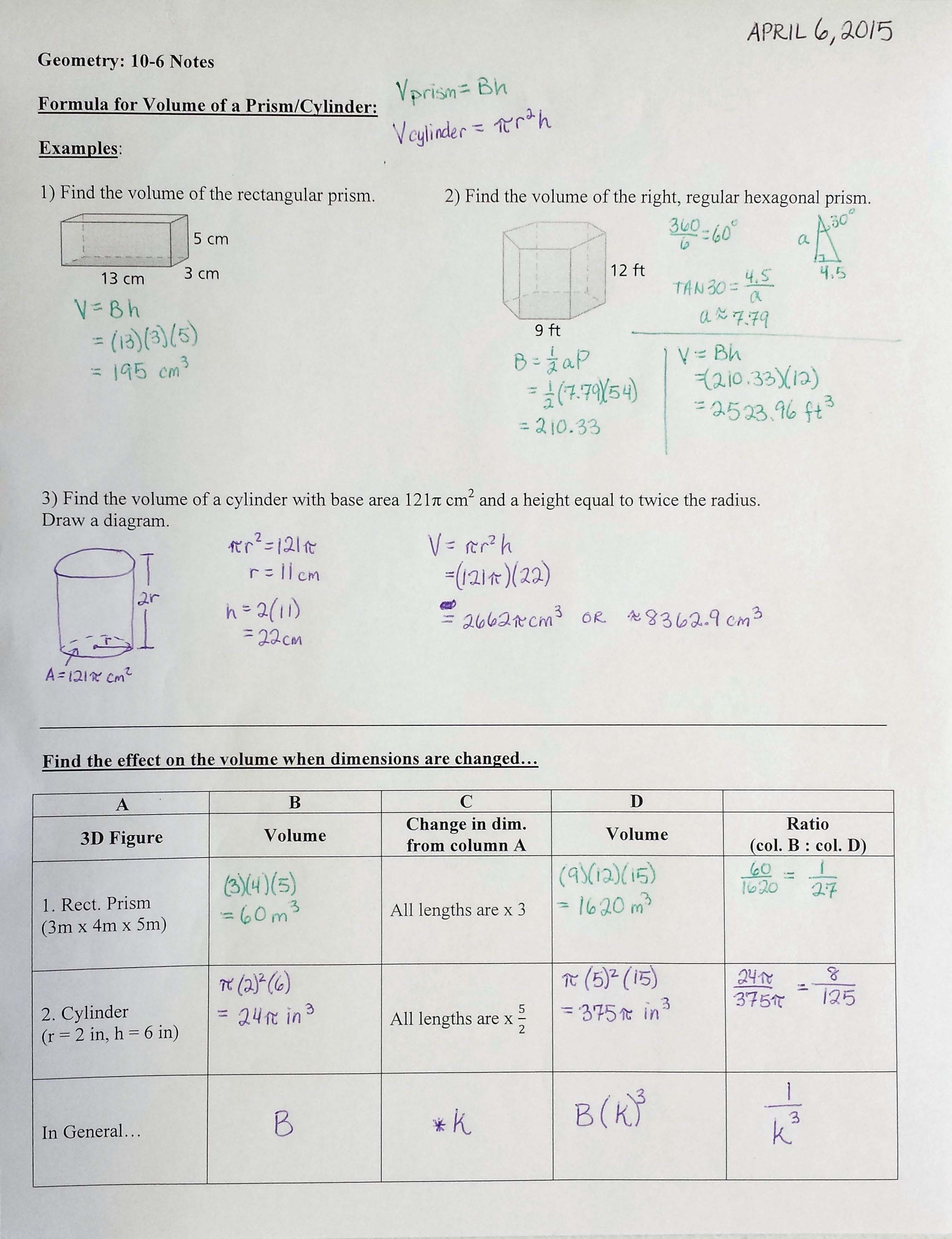 10 2 Volume Of Prisms And Cylinders Worksheet geometry – Volume of Prisms and Cylinders Worksheet
