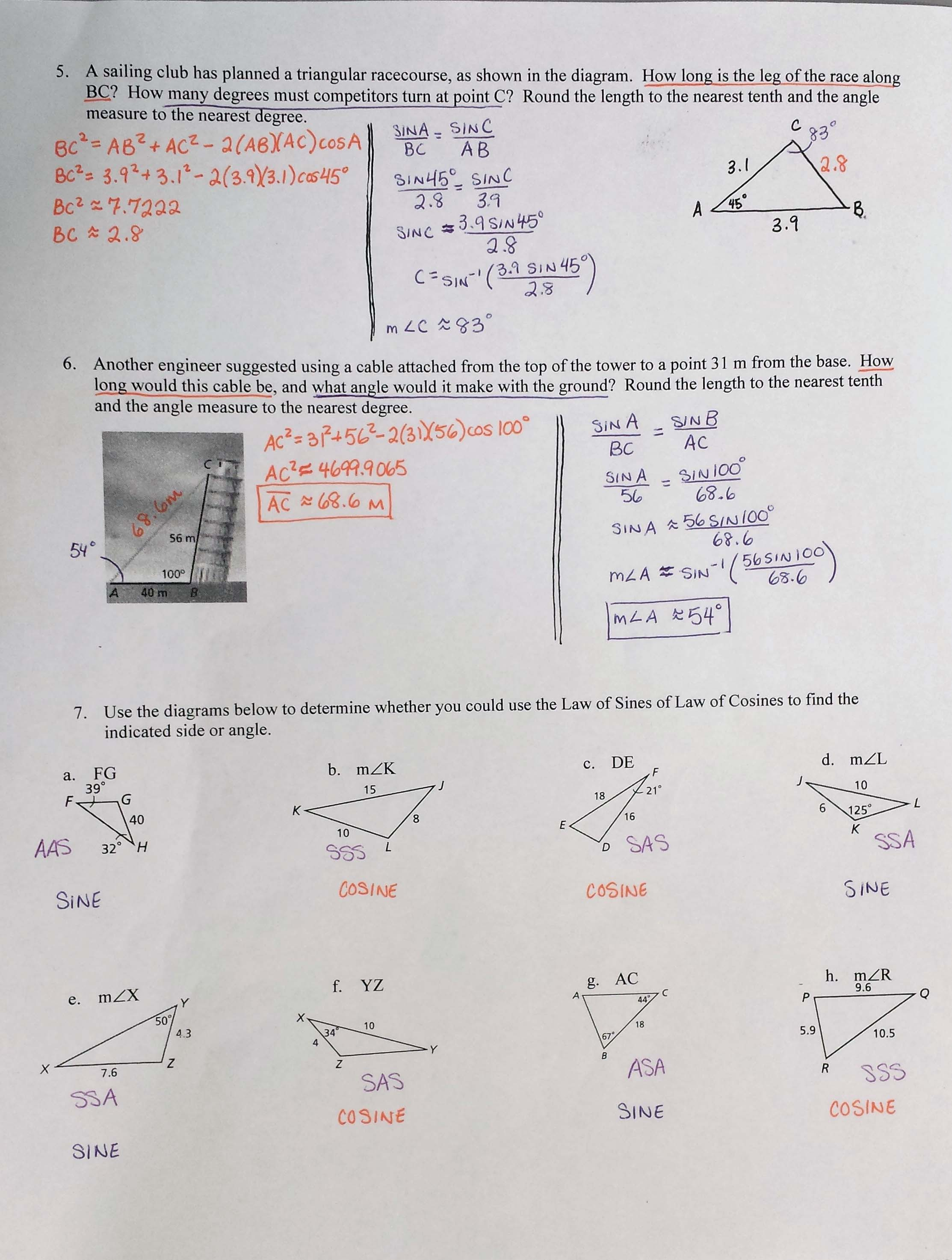 worksheet Angles Of Elevation And Depression Worksheet Answers mrs garnet at pvphs 8 5 notes law of sines and cosines page 1