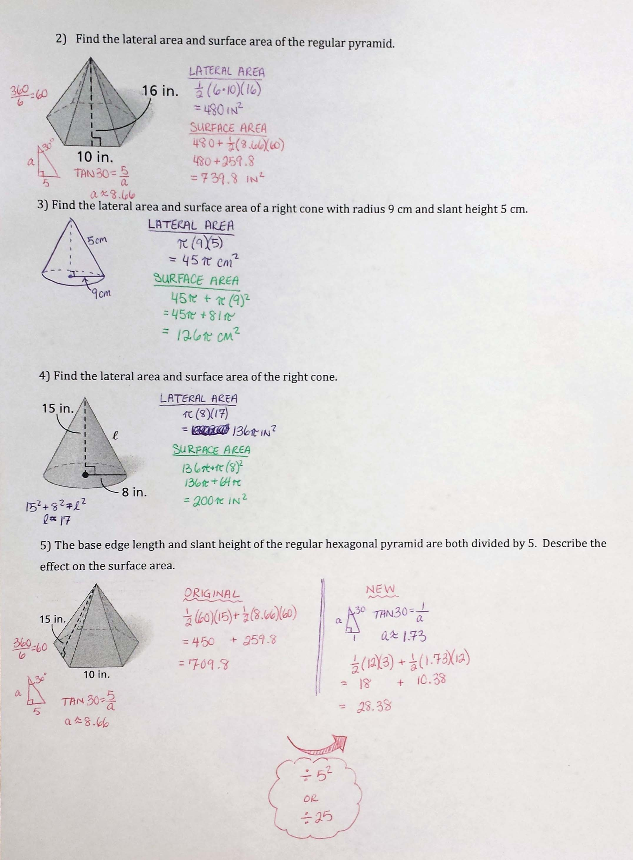 surface area of prisms and pyramids worksheet answers pdf